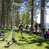 Winner of the Decelle Memorial Lake Tahoe Relay running into Lakeview Commons
