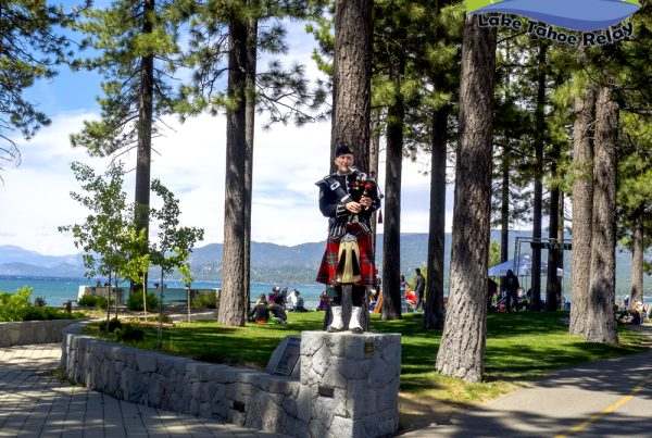 Sean Cummings Bagpiper For Hire at Lakeview Commons during Lake Tahoe Relay