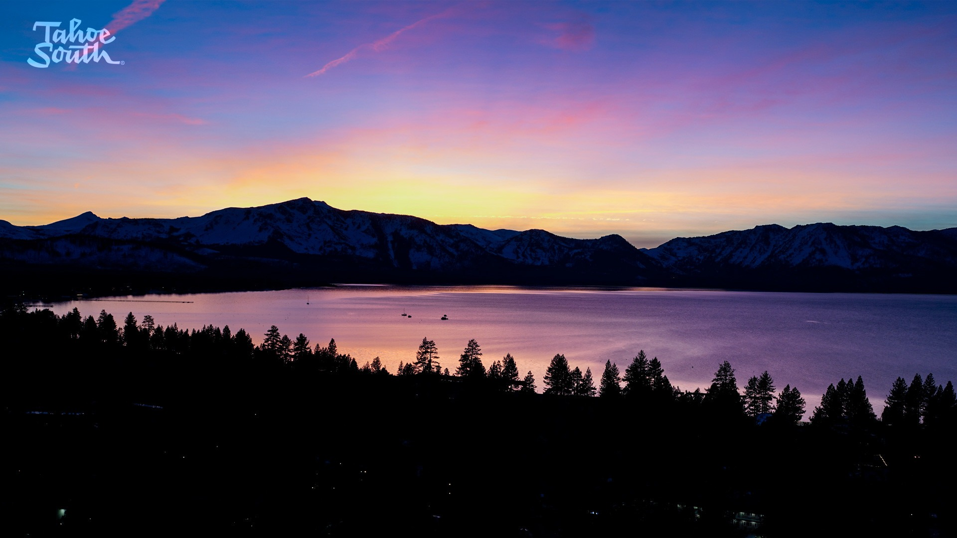 Sunset in Lake Tahoe overlooking lake and Mt Tallac
